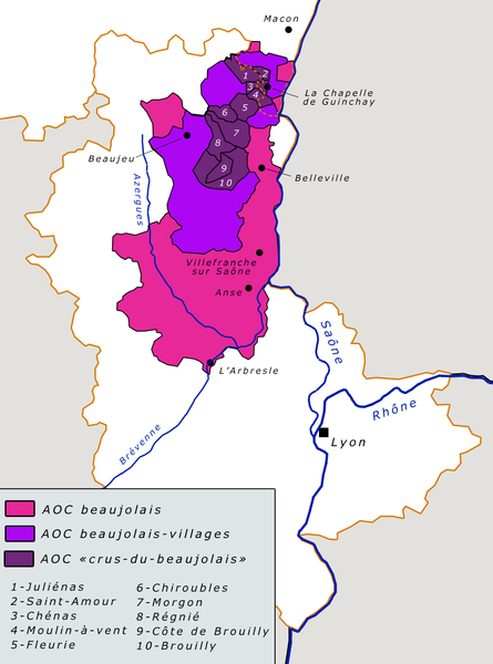 Carte vignoble Beaujolais wikipedia.org